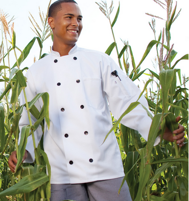 405W Black Button Chef Coat